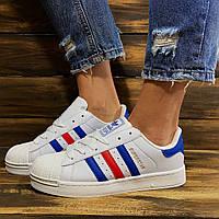 Кроссовки женские Adidas Superstar в стиле Адидас Суперстар, натуральная кожа, текстиль код DR-00020. Белые