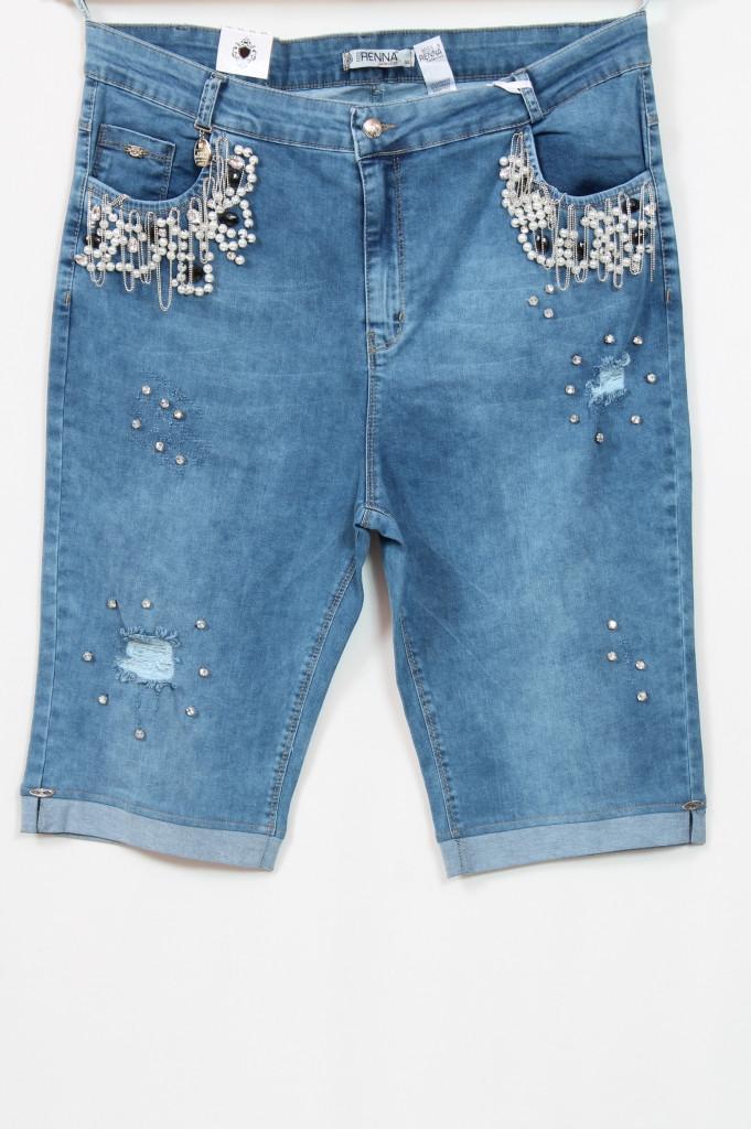 Турецкие джинсовые шорты с бусинами, 48-64