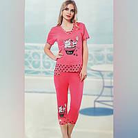 """Пижама женская хлопковая футболка и капри """"ModaLove"""" розовая с рисунком, фото 1"""