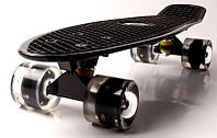"""Скейт Penny Board """"Fish"""" Черный Светящиеся черные колеса. Пенни борды"""