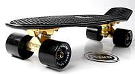 Скейт Penny Board Black. Logo. Золотая подвеска. Гравировка. (Пенни борд), фото 1