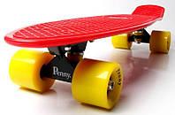 Скейт Penny Board Червоний колір Жовті колеса (Пенні борд), фото 1