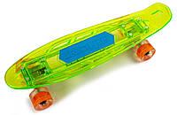"""Скейт Penny """"Fish Skateboard Original"""" Green. Музыкальная и светящаяся дека! (Пенни борд), фото 1"""