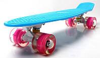 Скейт Penny Board Blue (Голубой) Гравировка Светящиеся колеса. (Пенни борд), фото 1