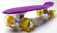 Скейт Penny Board 22 Violet. Светящиеся желтые колеса. (Пенни борд), фото 1