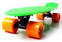 Скейт Penny Board 22 Салатовый цвет Оранжевые колеса. Пенни борд, фото 1