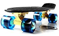Скейт Penny Board Black Logo. Золотая подвеска! Гравировка! Синие колеса!  (Пенни борд), фото 1