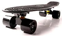 """Скейт Penny Board 22 """"Fish"""" Черный цвет. Матовые черные колеса. Пенни борд, фото 1"""