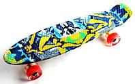 """Скейт Penny Board """"Fish"""" Camel Светящиеся колеса. (Пенни борд), фото 1"""