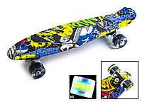 "Скейт Penny Board 22"" С рисунком ""Cool Draft"" Joker Светящиеся колеса. Пенни борды"