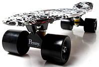 """Скейт Penny Board 22 с рисунком """"Street board"""" Черные матовые колеса. Пенни борд, фото 1"""