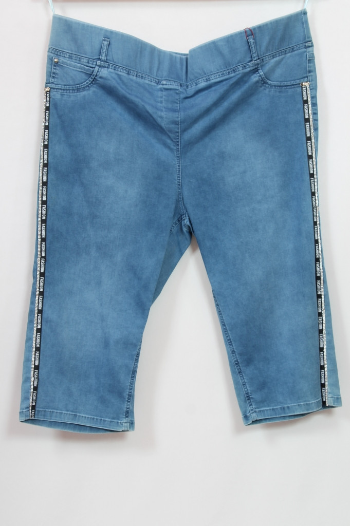 Турецкие женские джинсовые шорты на резинке с лампасами , 56-62