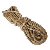 Канат джутовый 8 мм х 50 м  Веревка джутовая для декора Бечевка  Пенька  Мотузка джутова Україна