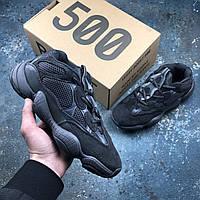 Кроссовки мужские Adidas Yeezy 500 в стиле Адидас Изи, замша, текстиль код IN-203. Черные