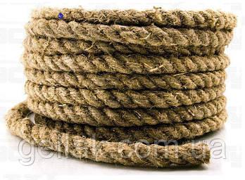 Канат пеньковый Ø 12 мм моток 50 метров для сруба  Мотузка пенькова  Льнопеньковый декоративный шнур