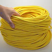 Резиновый шнур в оплетке 6 мм х 50 м / Эластичный шнур-резинка в оболочке  / Багажный жгут / Эспандер жёлтый