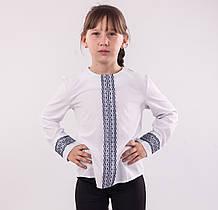 Детская блузка школьная белая для девочки с синей  кружевной планкой