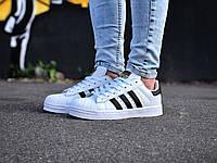 Кроссовки женские Adidas Superstar в стиле Адидас Суперстар, натуральная кожа, текстиль код Z-1796. Белые 38