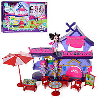 Домик кафе для маленьких куколс мебелью и аксессуарами, 3 куклы энчантималс по 10 см, 11692