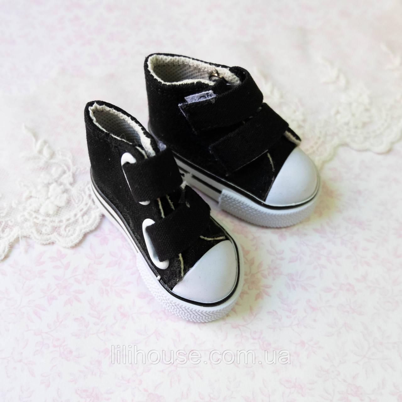 Обувь для Кукол Кеды на Липучках 7*3 см ЧЕРНЫЕ