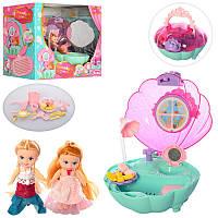 Ванная комната Ракушка - для маленьких кукол типа дочка барби по 10 см, дом для кукол типа лол 10 см,QL053-2