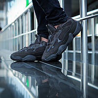 Кроссовки Adidas Yeezy Boost 500 мужские, в стиле Адидас Изи Буст 500, замша, текстиль код DK-1120. Черные