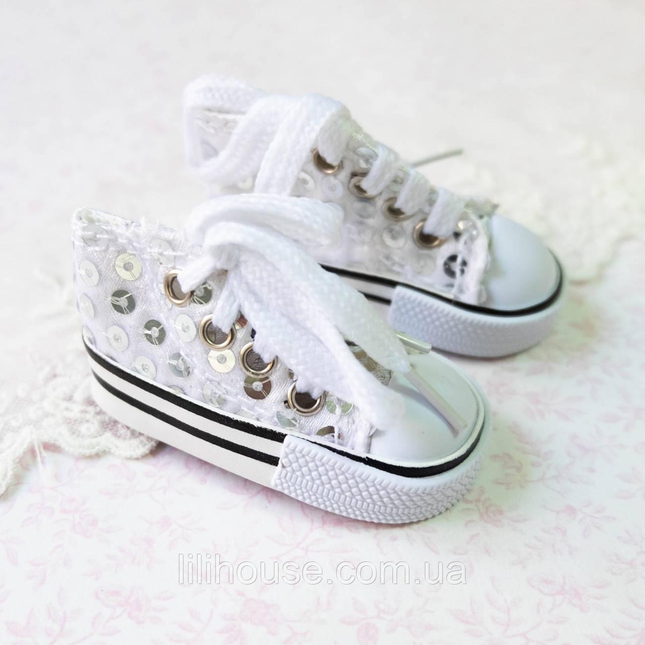 Обувь для кукол, кеды на шнуровке белые пайетки - 7*3 см