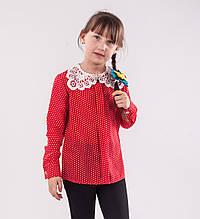 Детская блузка школьная красная для девочки с кружевным воротником и брошью