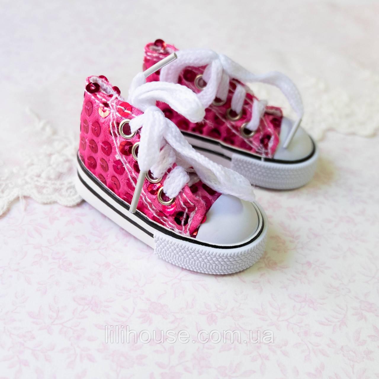 Обувь для Кукол Кеды на Шнуровке ПАЙЕТКИ 7*3 см ЯРКО-РОЗОВЫЕ
