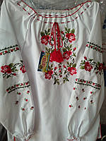 Яркая вышиванка на девочку орнамент  роза 122р-152р