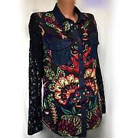 Блуза жіноча Desigual, поєднання попліну, мережива, джинсової тканини, розмір M, фото 1