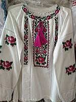 Яркая вышиванка на девочку орнамент лен 122р-152р, фото 1