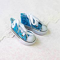 Обувь для кукол, кеды на шнуровке бирюзовые пайетки - 7*3 см, фото 1