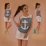 Летнее платье-морячка с якорем