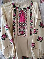 Яркая вышиванка на девочку орнамент лен 122р-152р