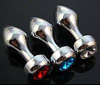 Анальная пробка металл+кристалл!