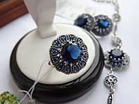Серебряное кольцо с синим камнем Бэлла, фото 1