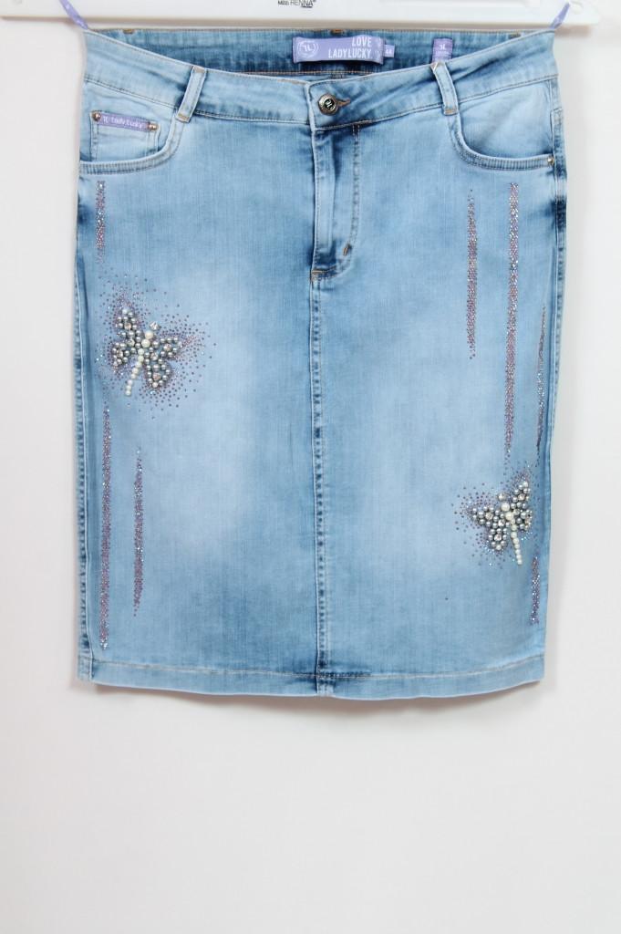 Женская джинсовая юбка с бабочками, размеры 50-62