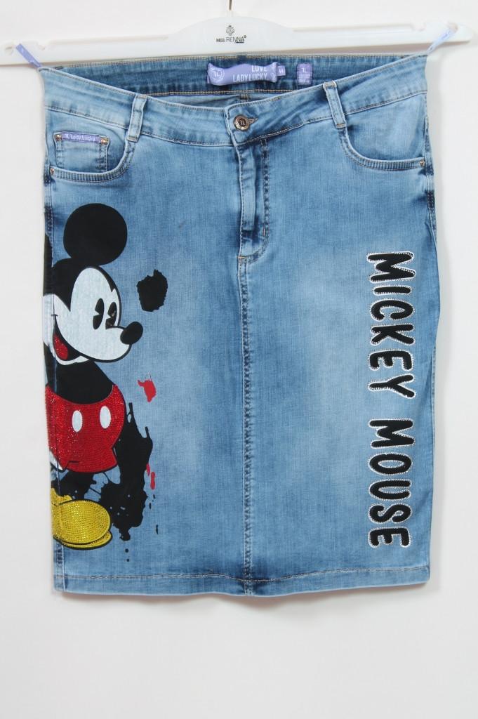 Женская джинсовая юбка Микки больших размеров 50-62