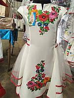 Нарядное вышитое платье  с фатиновой юбкой 128р-152р, фото 1