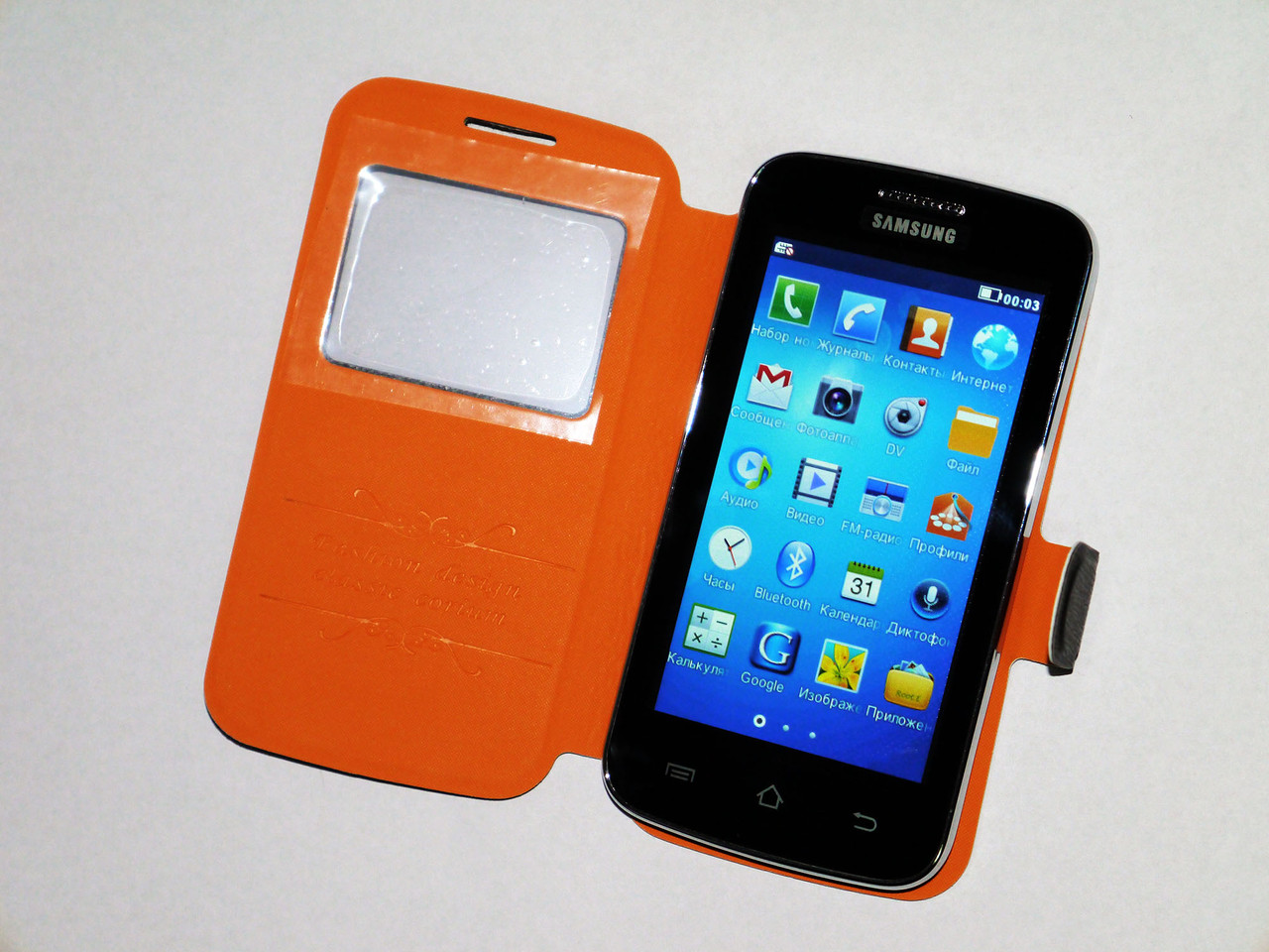 "Телефон Samsung G2 - 2Sim + 4"" + ЧЕХОЛ"