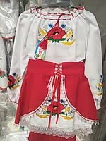 Нарядный вышитый  костюм платье+юбка  128р-152р