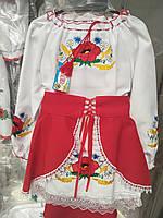 Нарядный вышитый  костюм платье+юбка  98р-122р