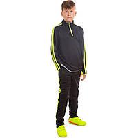 Костюм для тренировок по футболу детский LD2001T-G (полиэстер, р-р 26-32, черный-салатовый)