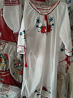 Этно платье на девочку Ромашка лен 122р-152р