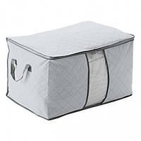 Органайзер для одежды, постельного белья бамбук (серый)