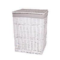 Корзина для белья плетеная с крышкой белая AWD02241593
