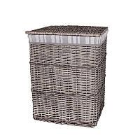 Корзина для белья плетеная с крышкой серая AWD02241577