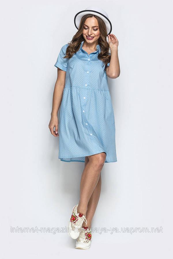 Платье с карманами №19-48 р. S M L горох голубой