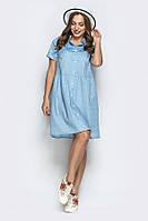 Платье с карманами №19-48 р. S M L горох голубой, фото 1